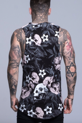 mens vest top in black with white floral detail