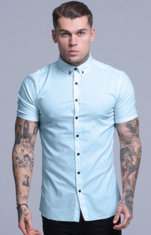 mens short sleeve shirt in baby blue