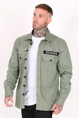 Man wearing khaki green overshirt