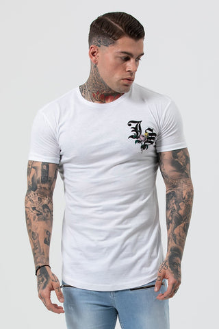Man wearing white printed t-shirt