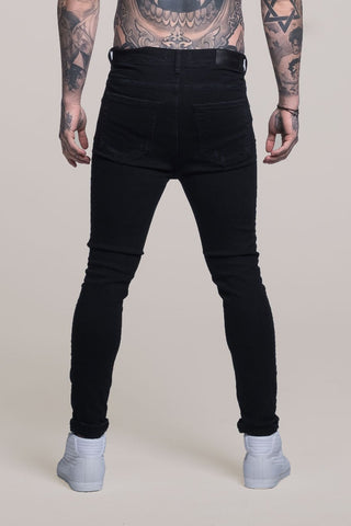 Mens Judas Sinned Johnny Skinny Stretch Distressed Men's Jeans - Black (DENIM) - Judas Sinned Clothing