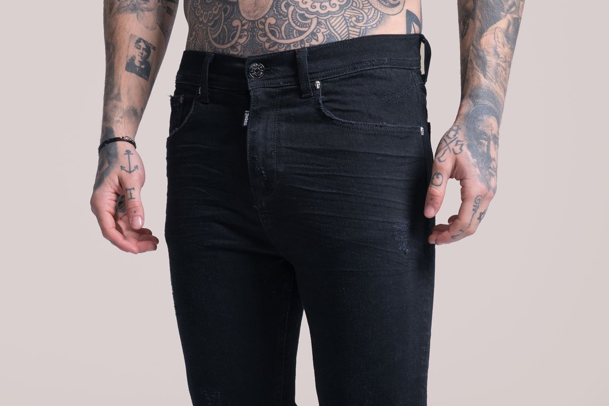 Mens Judas Sinned Johnny Skinny Stretch Distressed Jeans - Black (DENIM) - Judas Sinned Clothing
