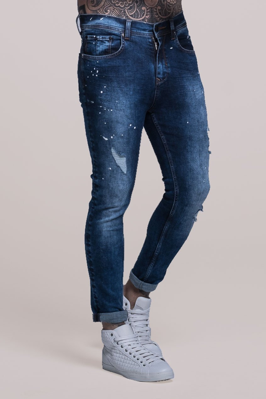 Johnny Skinny Fit Stretch Distressed Men's Jeans - Blue - Judas Sinned Clothing