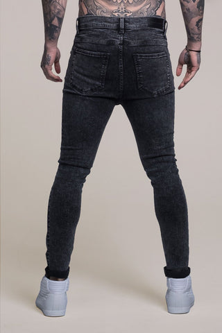 Mens Judas Sinned Johnny Skinny Stretch Distressed Men's Jeans - Grey (DENIM) - Judas Sinned Clothing