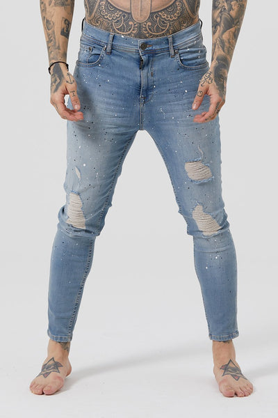 Mens Judas Sinned James Distressed Jeans - Vintage Wash (Jeans) - Judas Sinned Clothing