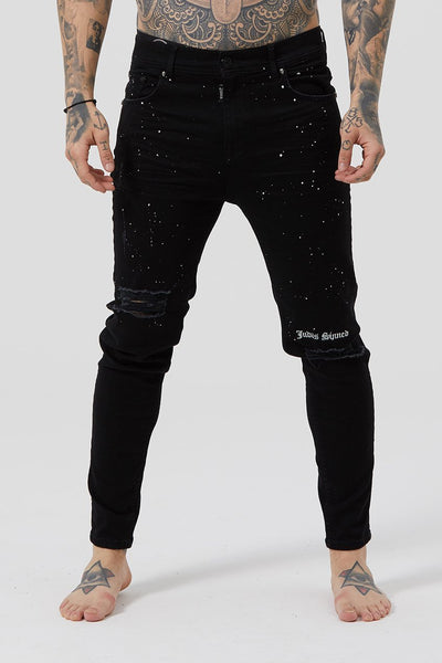 Judas Sinned Thrash Distressed Embroidered Men's Jeans - Black - Judas Sinned Clothing