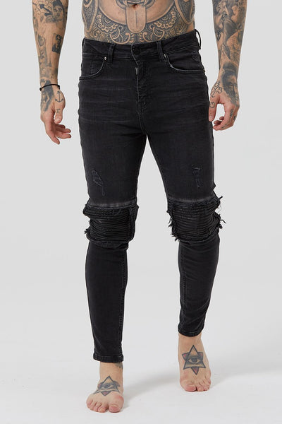 Mens Judas Sinned Throttle Men's Biker Jeans - Grey Wash (Jeans) - Judas Sinned Clothing
