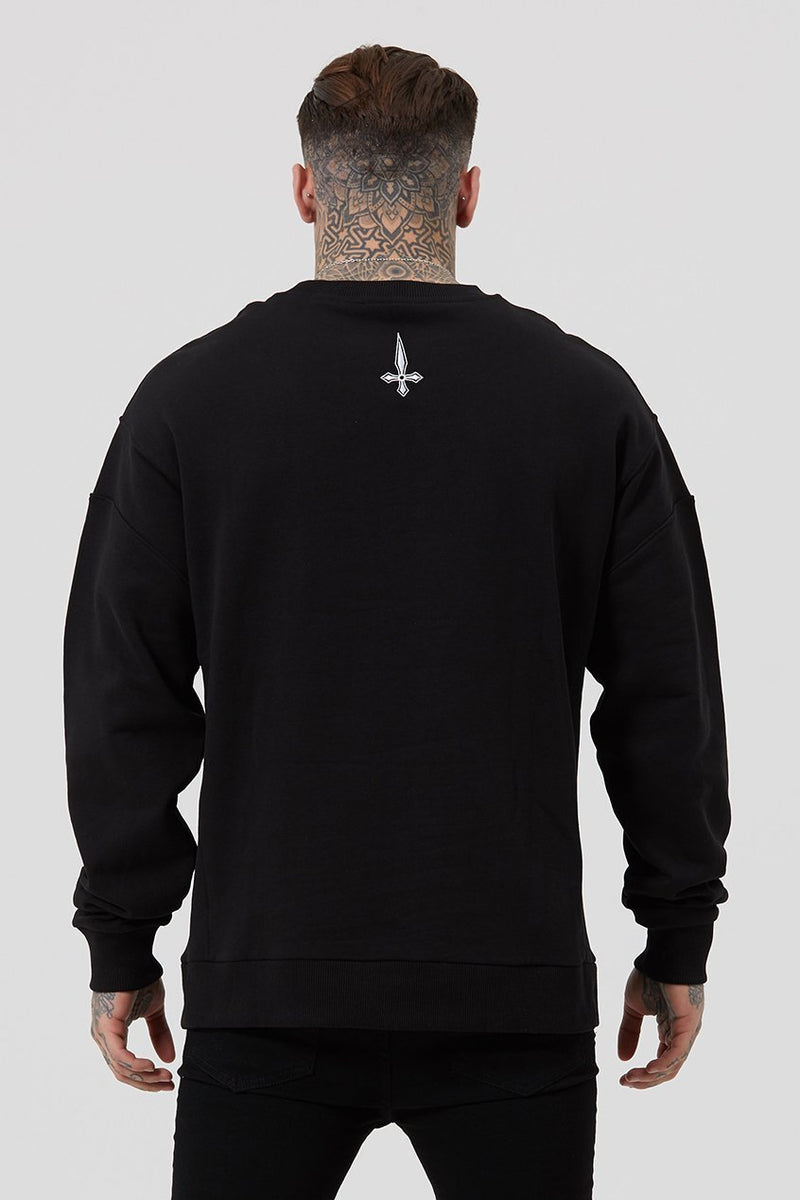 Judas Sinned Baggi Drop Shoulder Embroidery Men's Sweatshirt - Black - Judas Sinned Clothing