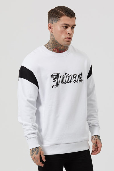 Judas Sinned Baggi Drop Shoulder Embroidery Men's Sweatshirt - White - Judas Sinned Clothing
