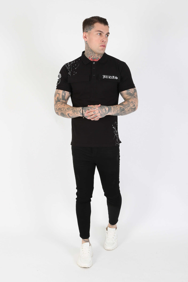 Judas Sinned Barra Military Men's Polo - Black - Judas Sinned Clothing