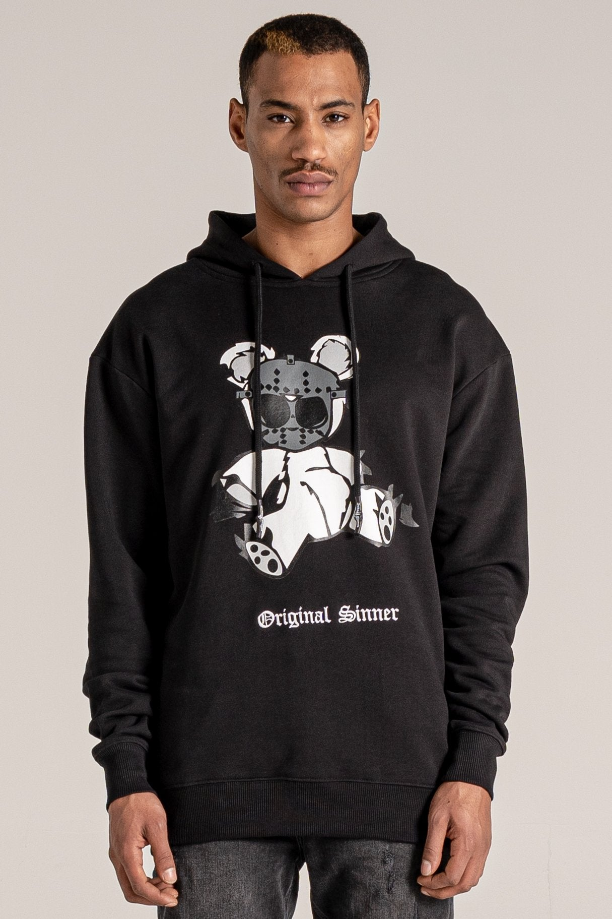 Judas Sinned Bear Print Printed Men's Hoodie - Black - Judas Sinned Clothing