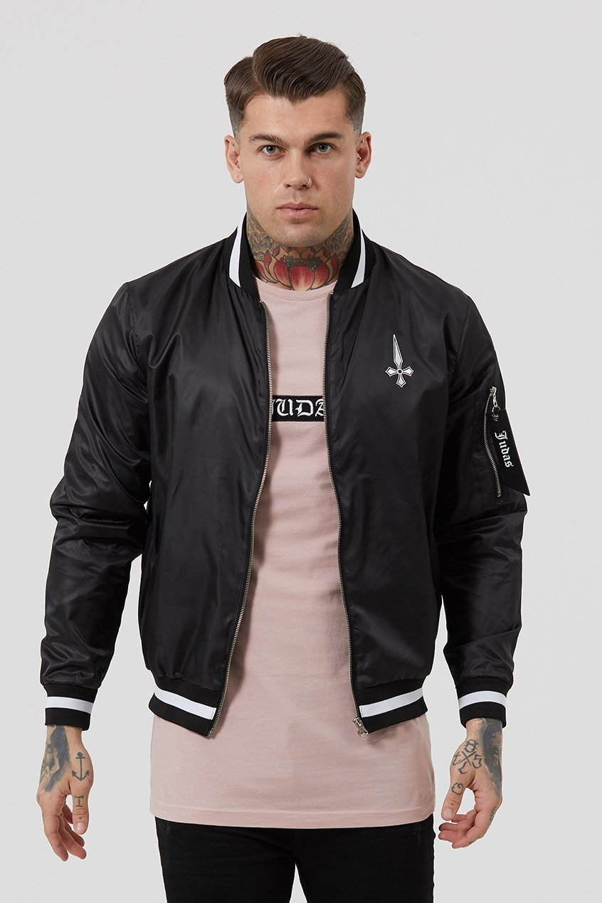 Judas Sinned Brooklyn Light Nylon Men's Bomber Jacket - Black - Judas Sinned Clothing