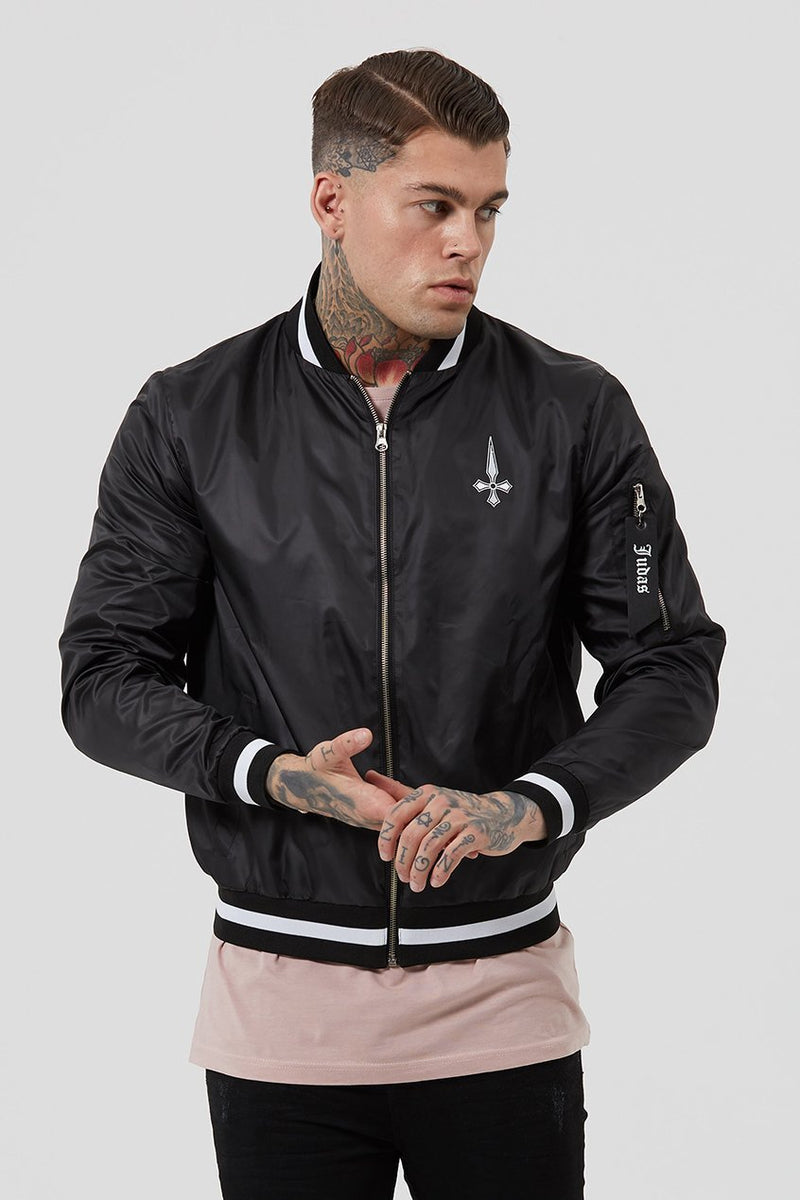 Mens Judas Sinned Brooklyn Light Nylon Men's Bomber Jacket - Black (Jackets) - Judas Sinned Clothing