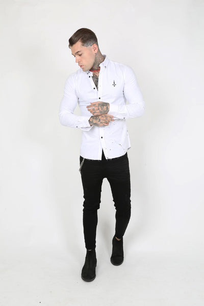 Judas Sinned Caten Paint Splatter Men's Shirt - White - Judas Sinned Clothing