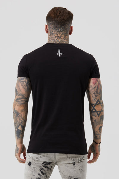Judas Sinned Core Embroidery Badge Men's T-Shirt - Black - Judas Sinned Clothing