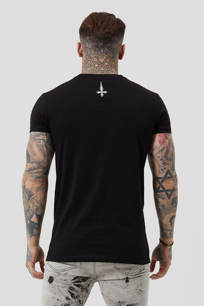 Mens Judas Sinned Core Embroidery Badge Men's T-Shirt - Black (T-Shirts) - Judas Sinned Clothing