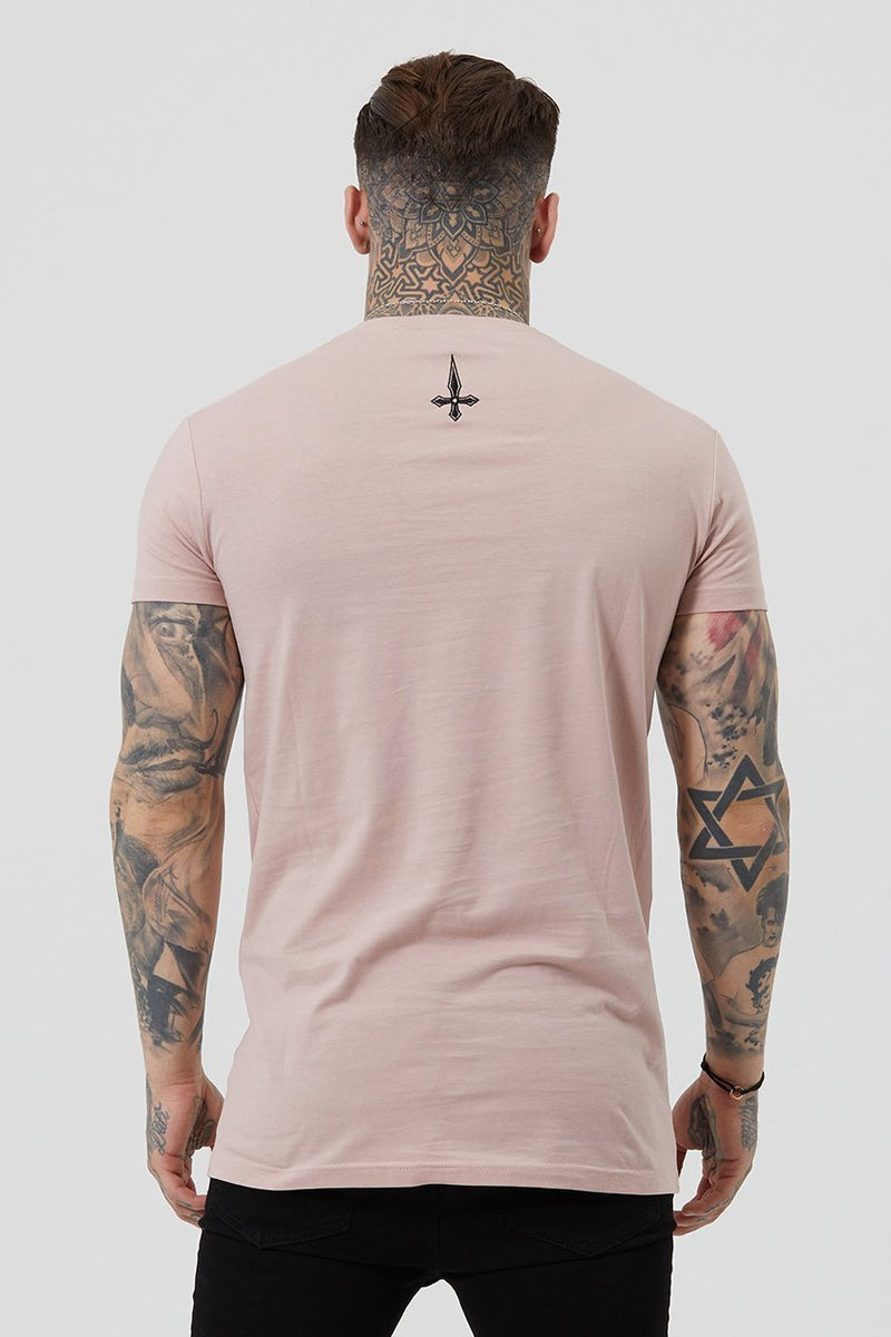 Judas Sinned Core Embroidery Badge Men's T-Shirt - Rose - Judas Sinned Clothing