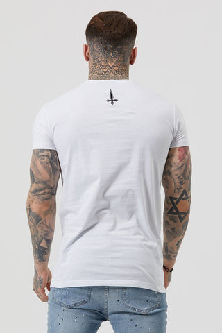 Mens Judas Sinned Core Embroidery Badge Men's T-Shirt - White (T-SHIRT) - Judas Sinned Clothing