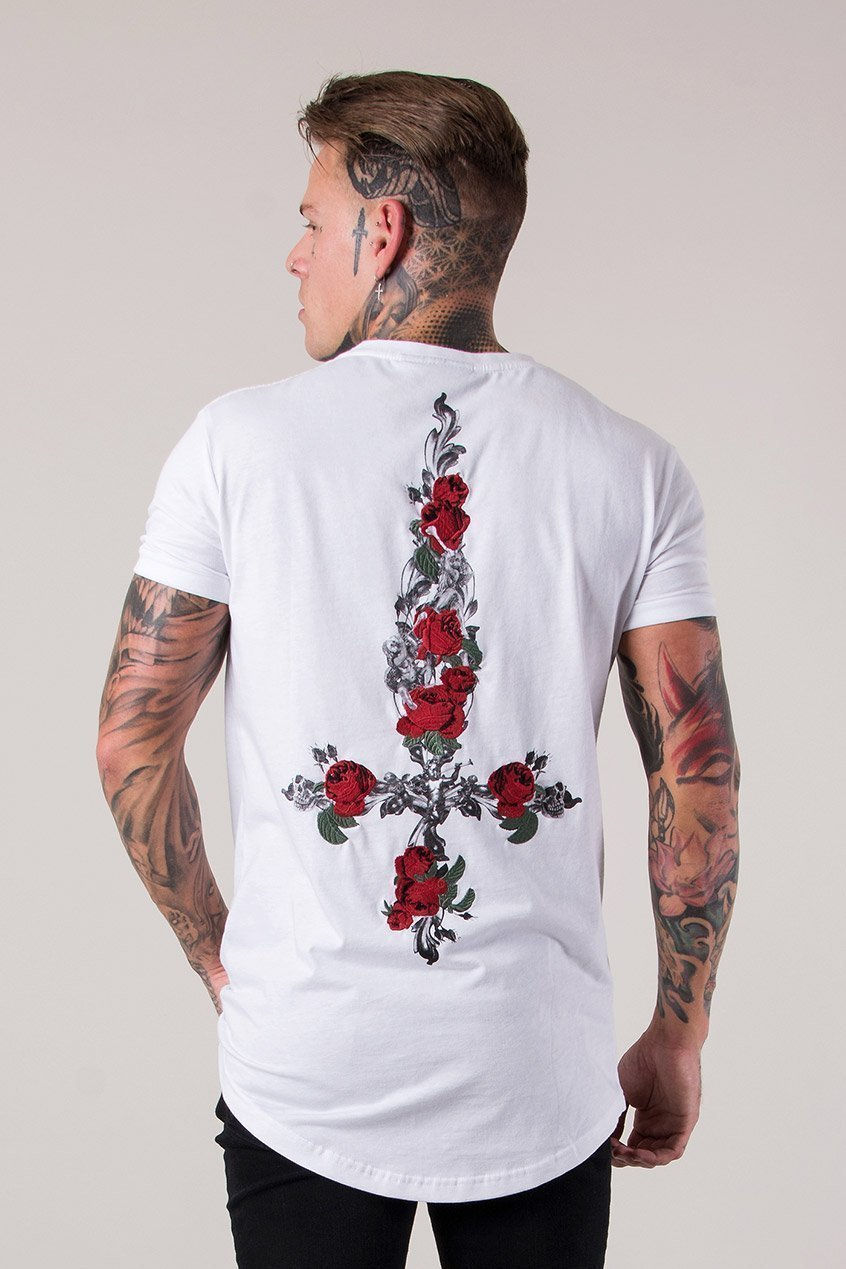 Judas Sinned Cross Embroidery Curved Hem Men's T-Shirt - White - Judas Sinned Clothing