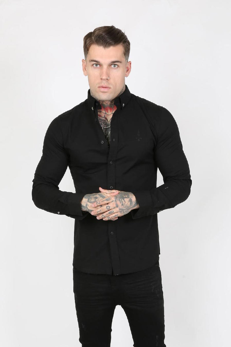 Judas Sinned Crystal Skull Smart Stretch Men's Shirt - Black - Judas Sinned Clothing