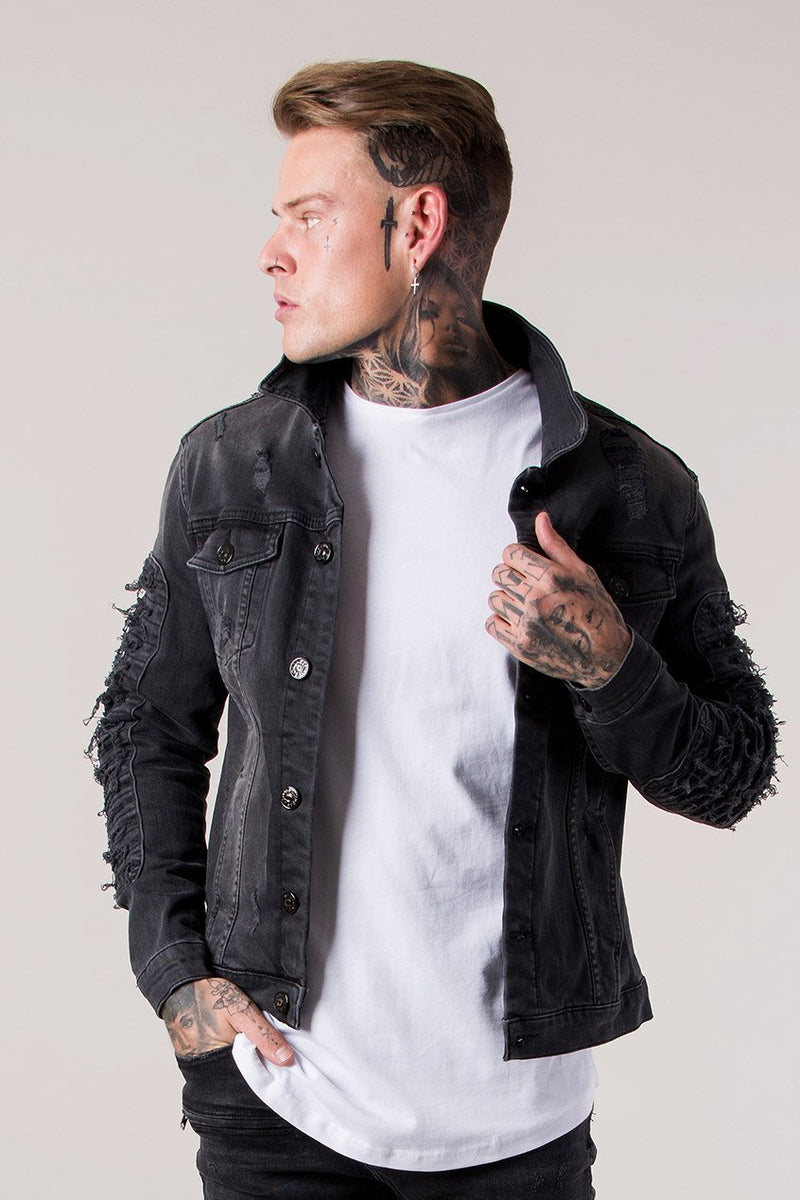 Judas Sinned Distressed Denim Men's Jacket - Dark Grey Wash - Judas Sinned Clothing
