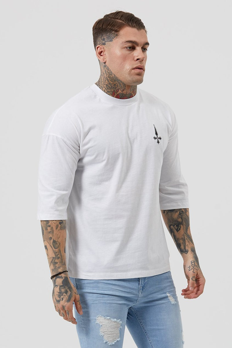 Judas Sinned Drape 3/4 Drop Sleeve Men's T-Shirt - White - Judas Sinned Clothing