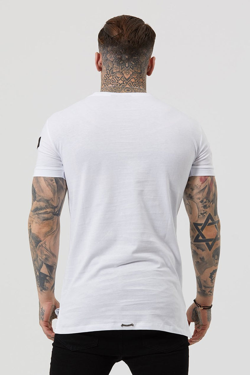 Judas Sinned Embroidery Badge Men's T-Shirt - White - Judas Sinned Clothing
