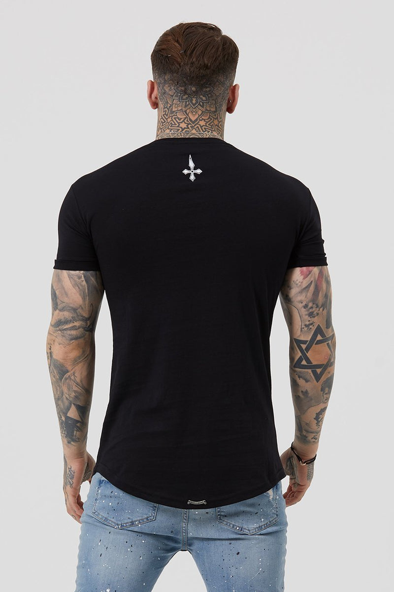 Judas Sinned Flo Crystal Chest Logo Men's T-Shirt - Black - Judas Sinned Clothing