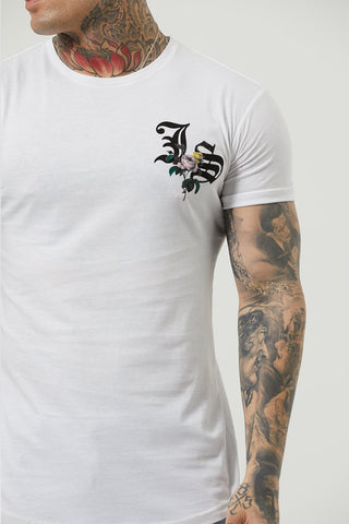 Mens Judas Sinned Flo Crystal Chest Logo Men's T-Shirt - White (T-SHIRT) - Judas Sinned Clothing