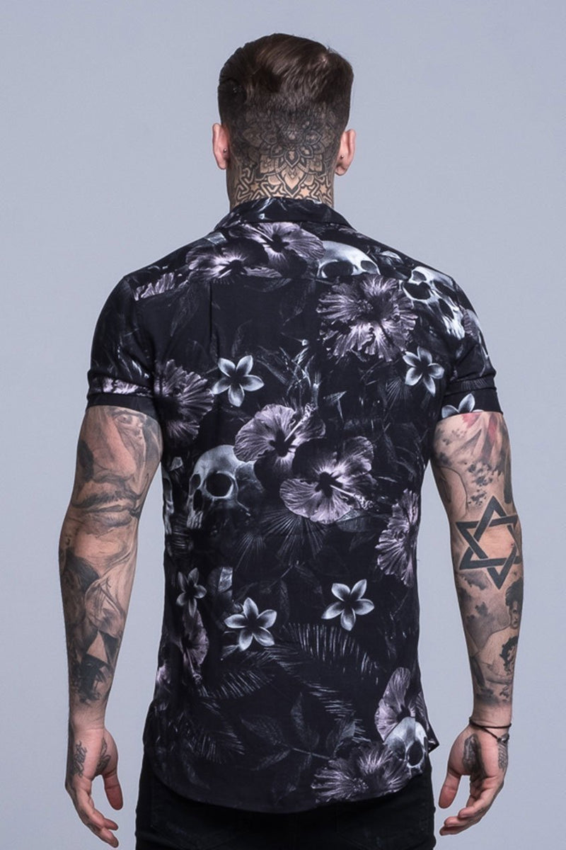 Judas Sinned Floral Skull Print Resort Men's Shirt - Black - Judas Sinned Clothing