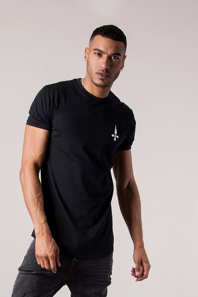 Judas Sinned Forgive Embroidered Curved Hem Men's T-Shirt - Black - Judas Sinned Clothing