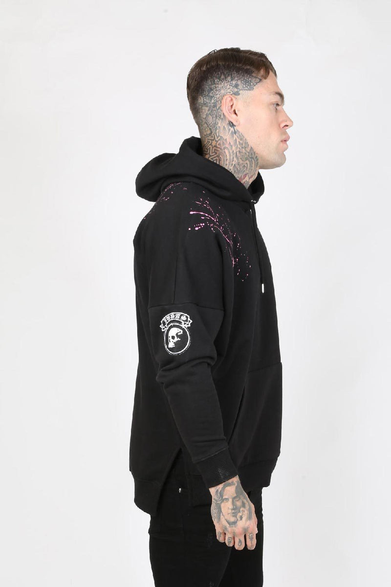 Judas Sinned Graff Graffiti Logo Split Hem Drop Men's Oversized Hoodie - Black