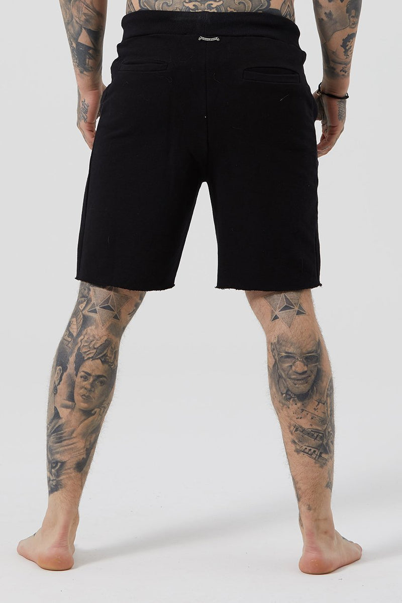 Judas Sinned Grind Cut Hem Wide Men's Shorts - Black - Judas Sinned Clothing