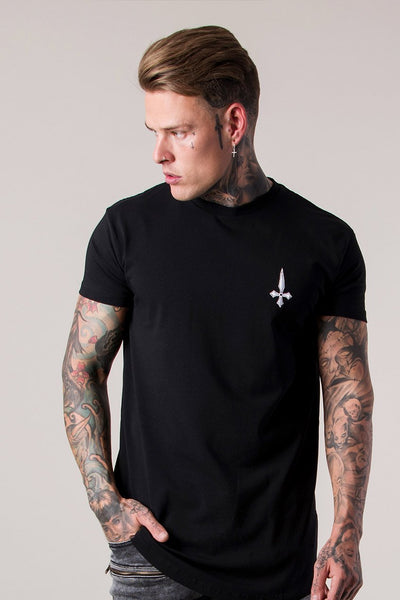 Mens Judas Sinned Gym Script Curved Hem Men's T-Shirt - Black (T-Shirts) - Judas Sinned Clothing