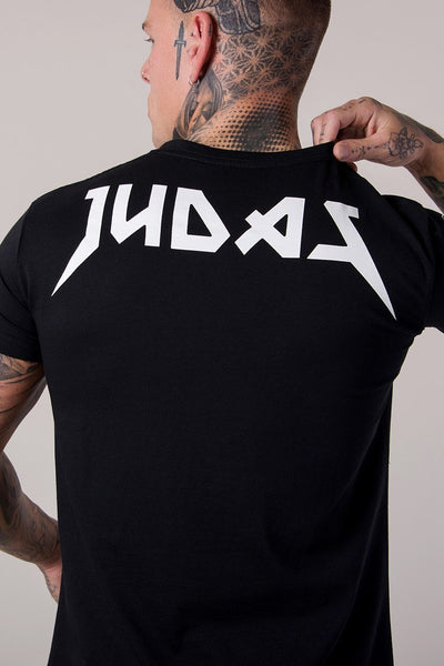 Judas Sinned Illuminati Skull Print Curved Hem Men's T-Shirt - Black - Judas Sinned Clothing