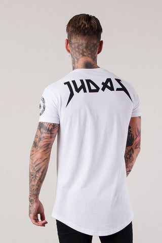 Mens Judas Sinned Illuminati Skull Print Curved Hem Men's T-Shirt - White (T-SHIRT) - Judas Sinned Clothing