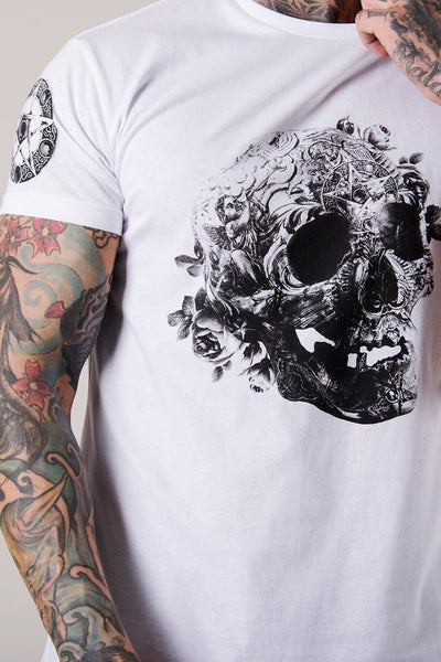 Judas Sinned Illuminati Skull Print Curved Hem Men's T-Shirt - White - Judas Sinned Clothing