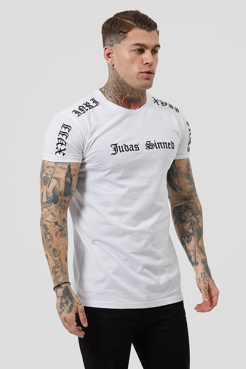 Mens Judas Sinned Inri Embroidery Men's T-Shirt - White (T-Shirts) - Judas Sinned Clothing