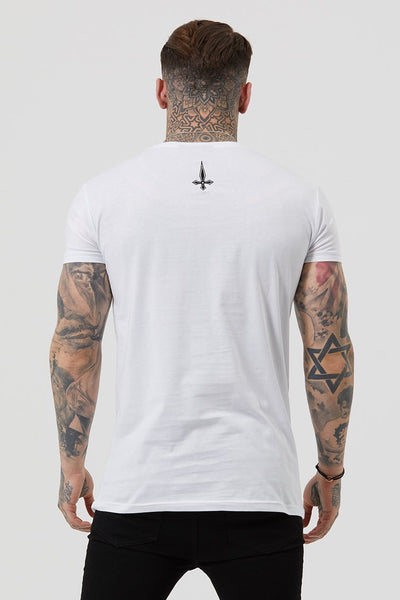 Judas Sinned Inri Embroidery Men's T-Shirt - White - Judas Sinned Clothing