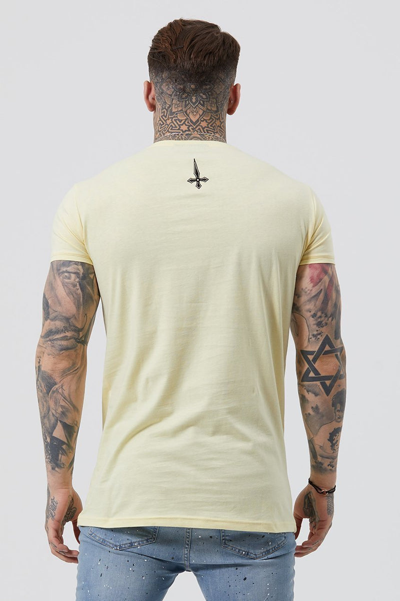 Judas Sinned Inri Embroidery Men's T-Shirt - Yellow - Judas Sinned Clothing