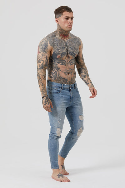 Judas Sinned James Distressed Jeans - Vintage Wash - Judas Sinned Clothing