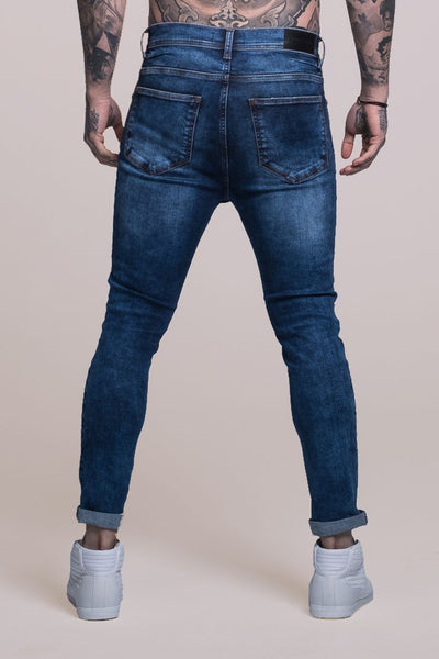 Judas Sinned Johnny Skinny Fit Stretch Distressed Men's Jeans - Blue - Judas Sinned Clothing