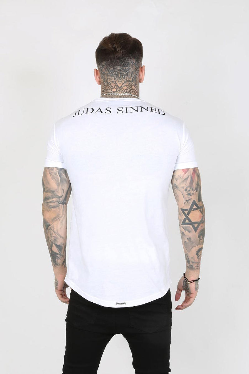 Judas Sinned Junio Crystal Skull Men's T-Shirt - White - Judas Sinned Clothing