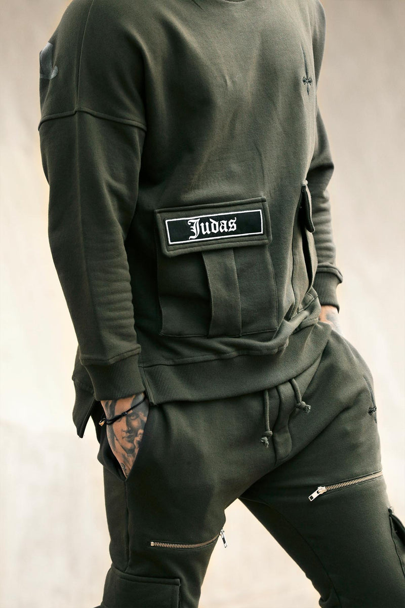 Judas Sinned Kaarg Utility Zip Detail Cargo Men's Joggers - Khaki