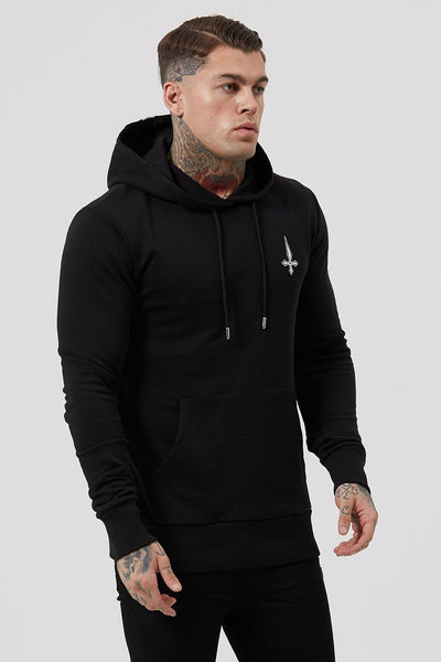 Judas Sinned Kang Back Tape Detail Men's Hoodie - Black - Judas Sinned Clothing