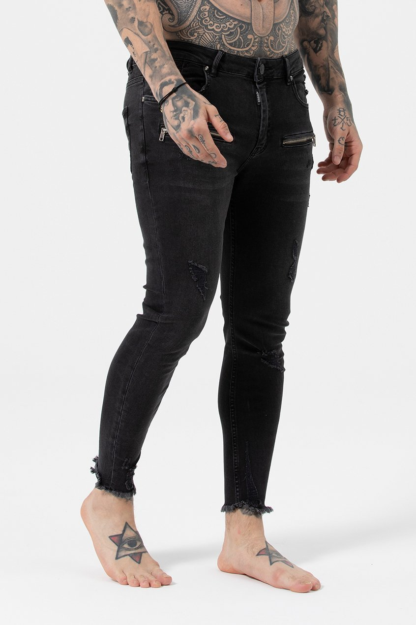 Judas Sinned Kurt Men's Skinny Fit Jeans - Dark Grey Wash - Judas Sinned Clothing
