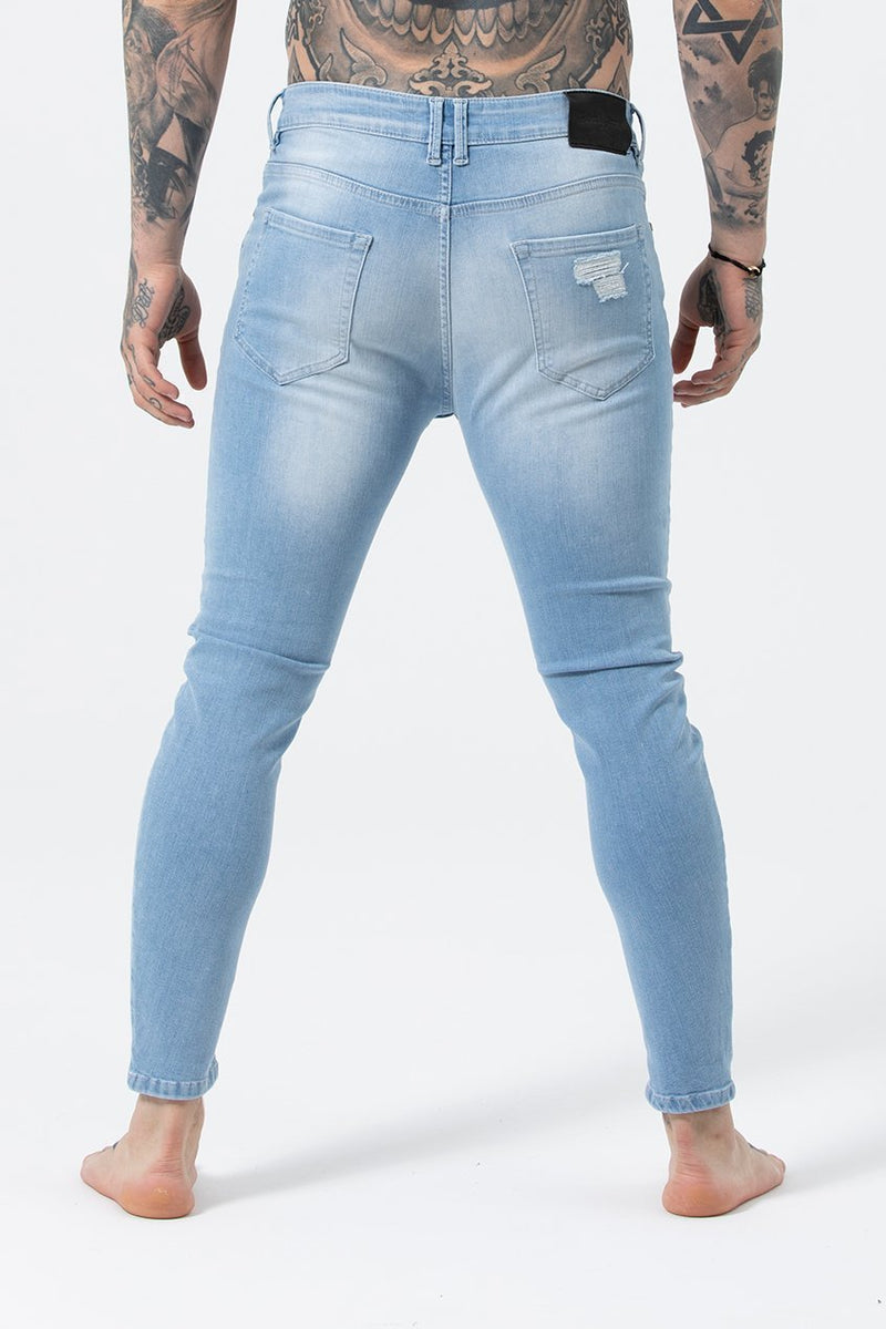 Judas Sinned Kurt Men's Skinny Fit Jeans - Light Blue - Judas Sinned Clothing