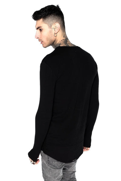 Judas Sinned Long Sleeve Super Stretch Men's Crew Neck T-Shirt - Black - Judas Sinned Clothing