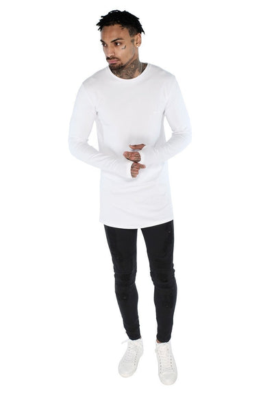 Judas Sinned Long Sleeve Super Stretch Men's Crew Neck T-Shirt - White - Judas Sinned Clothing
