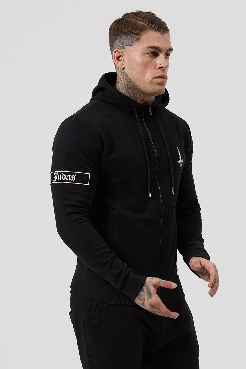 Mens Judas Sinned Lounge Embroidery Tracksuit Men's Hoodie - Black (HOODIE) - Judas Sinned Clothing